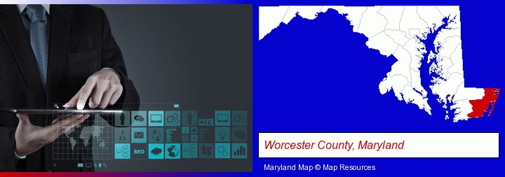 information technology concepts; Worcester County, Maryland highlighted in red on a map