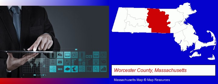 information technology concepts; Worcester County, Massachusetts highlighted in red on a map