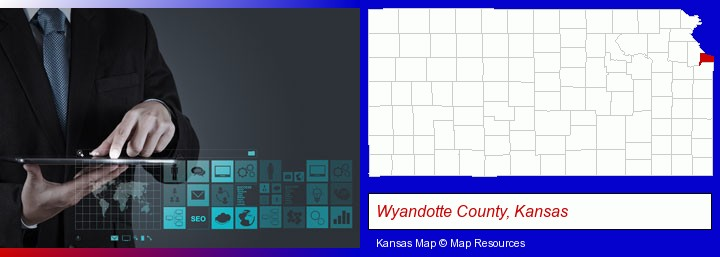 information technology concepts; Wyandotte County, Kansas highlighted in red on a map