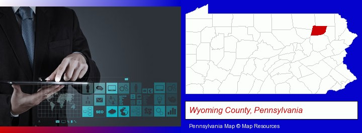 information technology concepts; Wyoming County, Pennsylvania highlighted in red on a map