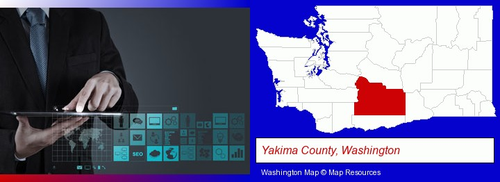 information technology concepts; Yakima County, Washington highlighted in red on a map