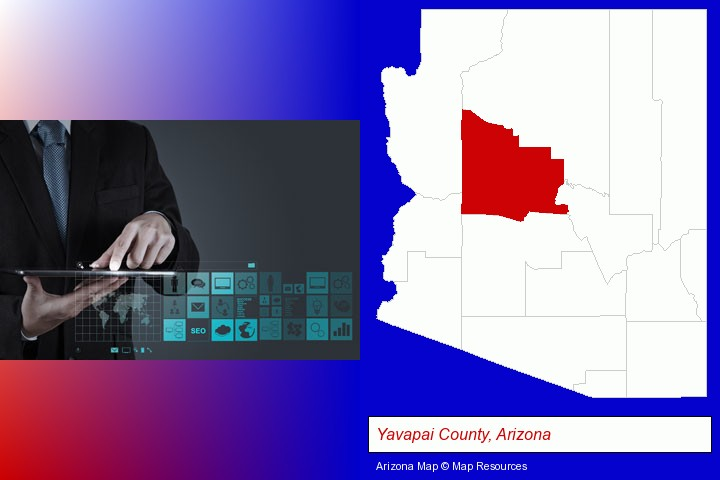 information technology concepts; Yavapai County, Arizona highlighted in red on a map