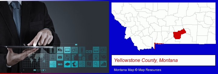 information technology concepts; Yellowstone County, Montana highlighted in red on a map