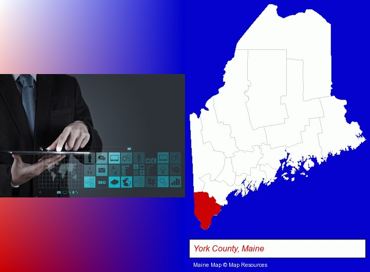 information technology concepts; York County, Maine highlighted in red on a map