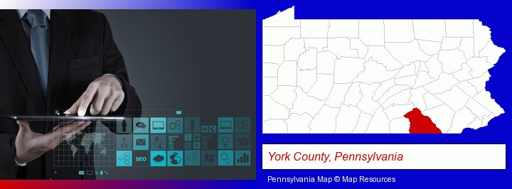 information technology concepts; York County, Pennsylvania highlighted in red on a map