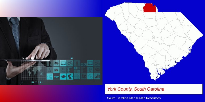 information technology concepts; York County, South Carolina highlighted in red on a map
