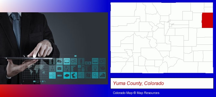 information technology concepts; Yuma County, Colorado highlighted in red on a map